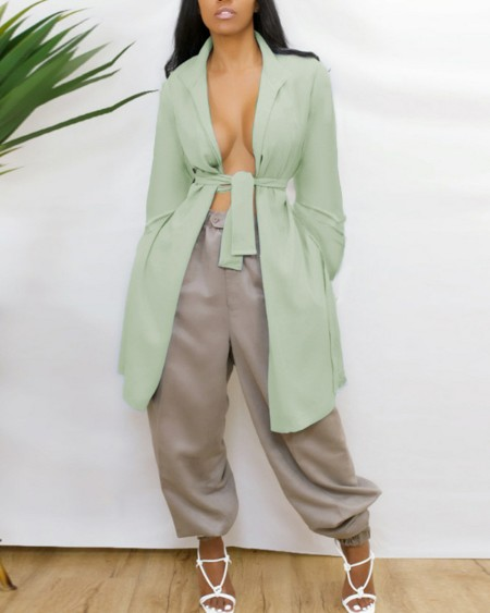 Solid Open Back Belted Trench Coat