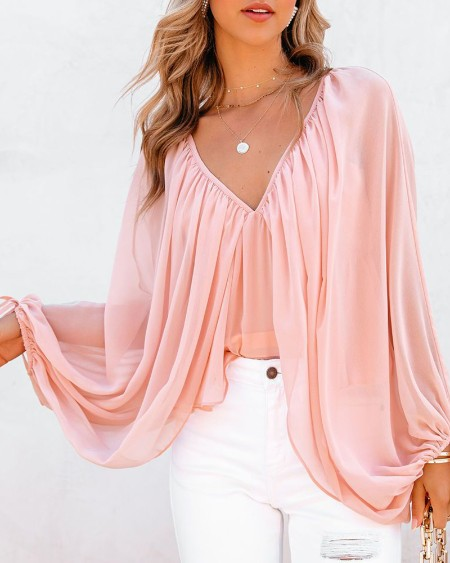 Tied Detail Backless Ruched Batwing Sleeve Top