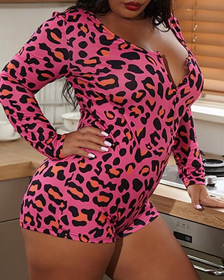 Plus Size Cheetah Print Buttoned Onesie