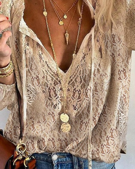 Solid Color Hollow-out Lace Long Sleeve Shirt