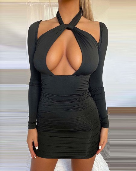 Halter Cutout Front Ruched Bodycon Dress