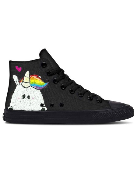 Womens Cute Unicorn Print Lace-up High Top Canvas Casual Shoes