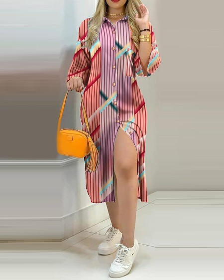 Stripe Button Design Shirt Dress