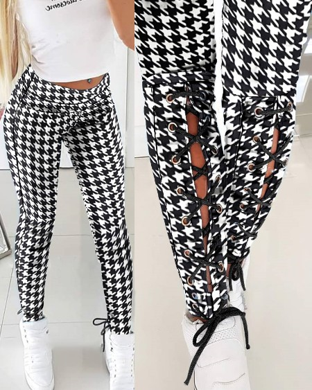 Houndstooth Eyelet Lace-Up Skinny Pants