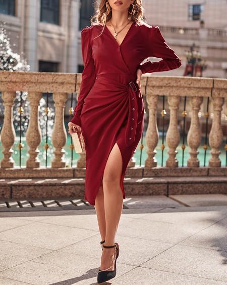 V-Neck Puff Sleeve Buckle Slit Skinny Dress