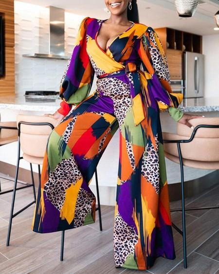 Leopard Print V-Neck Lantern Sleeve Belted Jumpsuit