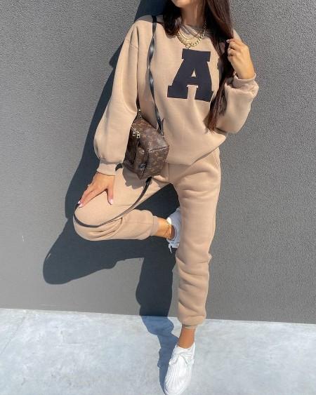 Letter Print Long Sleeve Sweatshirt & Sweatpants Set