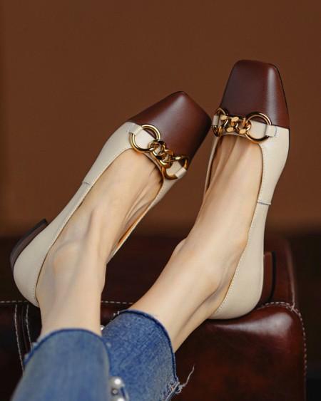 Square-toe Color Block Splicing Chain Flat Slip-on