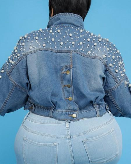 Plus Size Beaded Patch Pocket Button Drop Shoulder Denim Coat