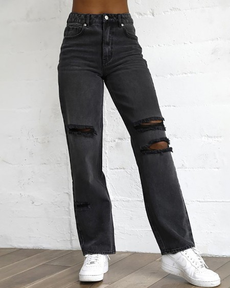 Ripped Cutout Single Button Jeans