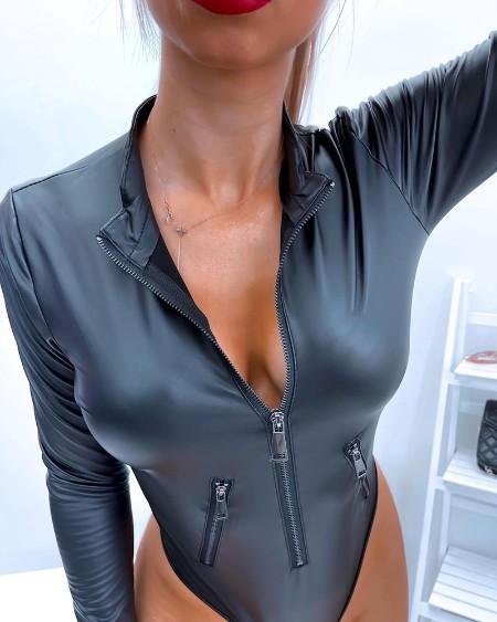 Long Sleeve PU Leather Zipper Design Bodysuit