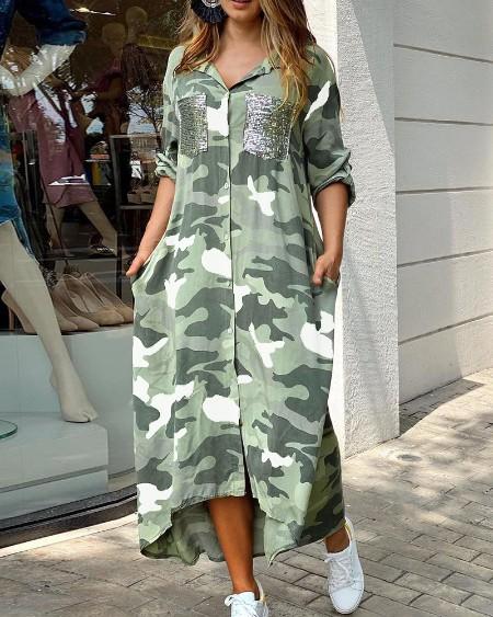 Camouflage Print Sequins Pocket Design Maxi Dress