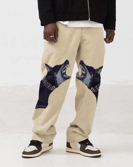 Fashion Dog Print Wide-leg Pants