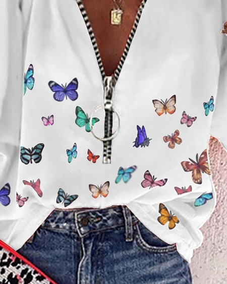 Zip Front Butterfly Print Lantern Sleeve Top