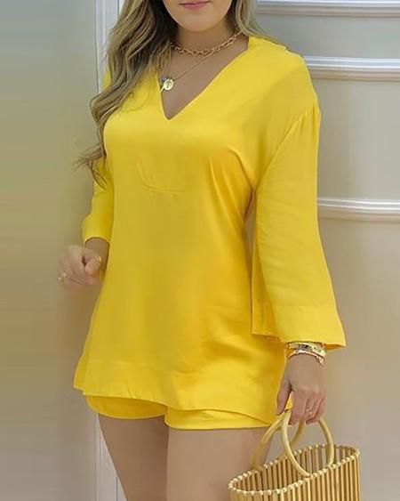 Plain Bell Sleeve V-Neck Top & Shorts Set