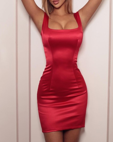 Solid Color Satin Mini Dress