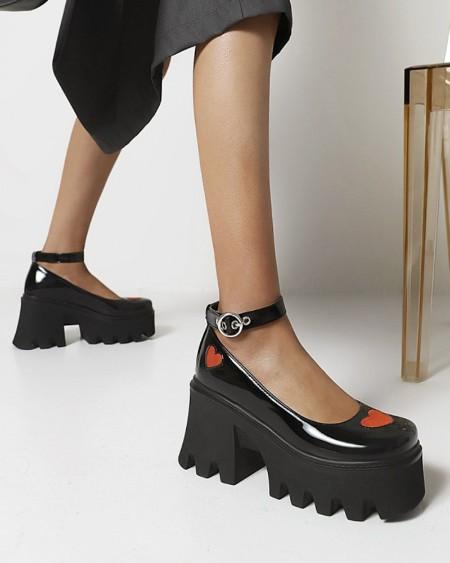 Chic Womens Red Heart Decor Square Toe Shiny Finish Platform Shoes