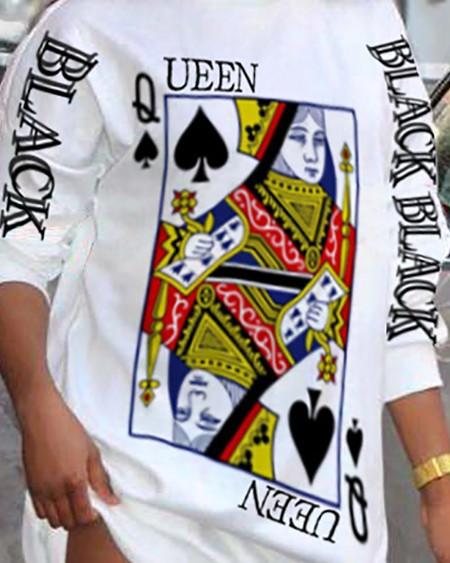 Poker Letter Print Long Sleeve Casual Dress