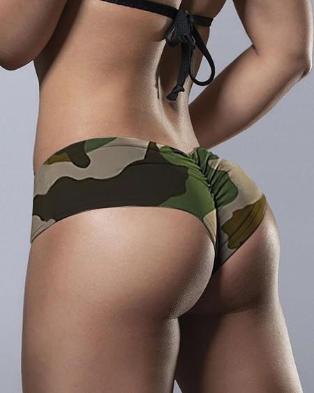 Camouflage Print Ruched  Panty Boyshorts