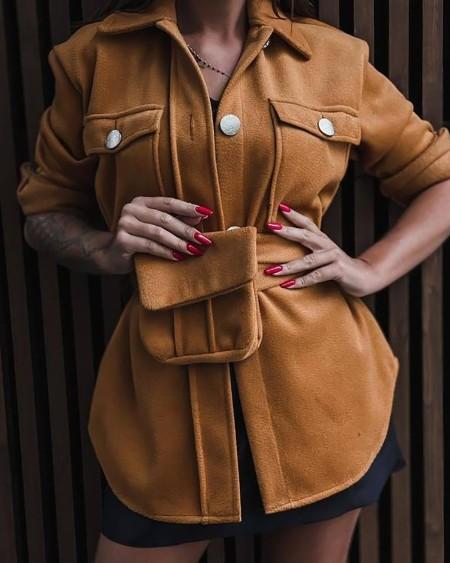 Pocket Button Design Long Sleeve Jacket