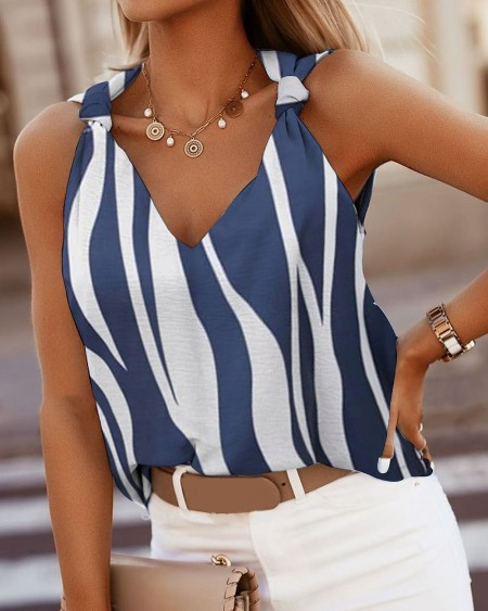 Summer Colorblock Knotted V Neck Sleeveless Stripe Tank Top