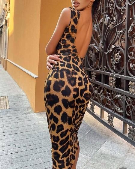 Cheetah Print Sleeveless Backless Dress