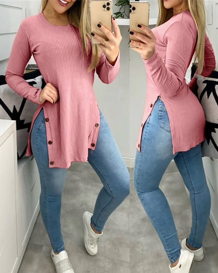 Button Design Slit Long Sleeve Ribbed Top