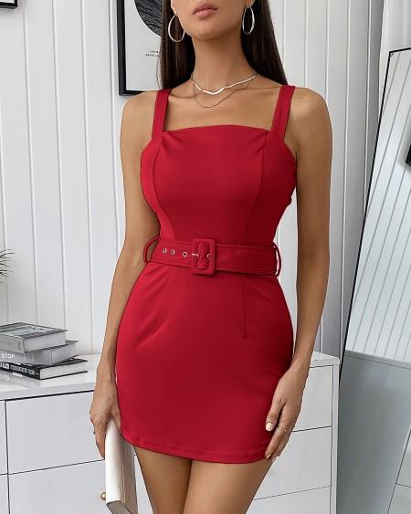 Thick Strap Plain Bodycon Dress