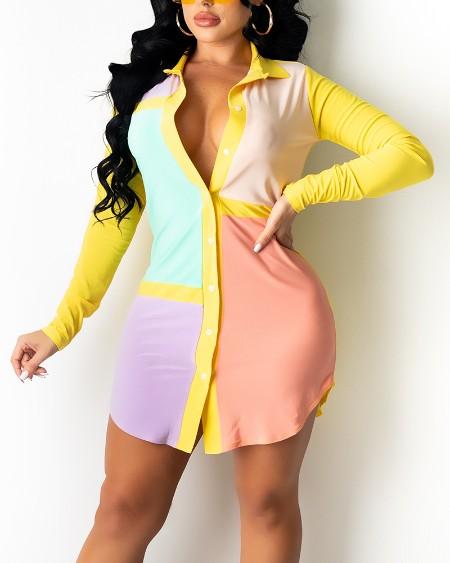 Long Sleeve Button Front Colorblock Shirt Dress