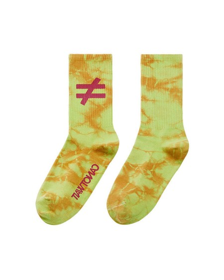 Tie Dye Print Splicing Embroidery Mid-Tube Socks