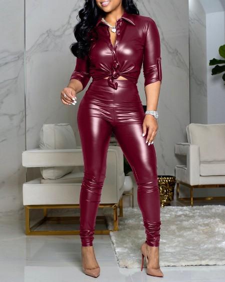 PU Leather Buttoned Top & High Waist Pants Set