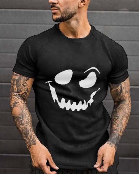 Fashion Mens Halloween White Smirk Printed Black Short Sleeve T-Shirt