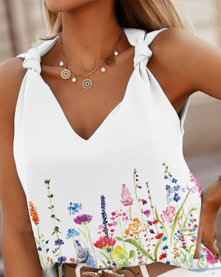 Floral Print Knotted V Neck Casual Tank Top