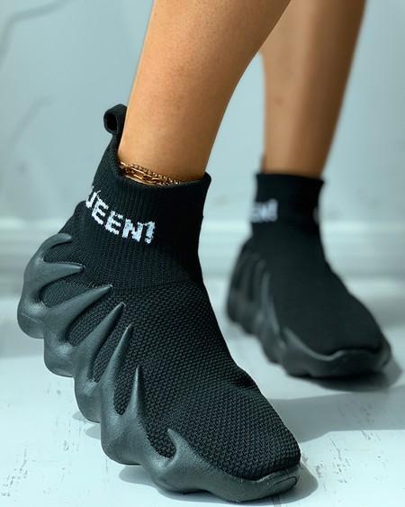Letter Pattern Knit Sock Sneaker