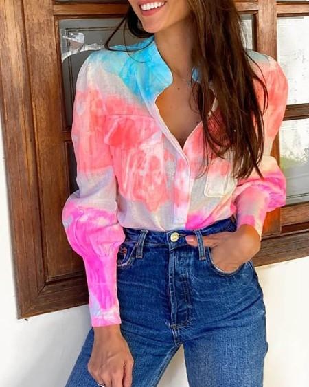 Lantern Sleeve Tie Dye Print Pocket Design Shirt