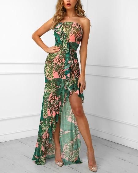Leaf Printed Irregular Ruffles Hem Tube Dress