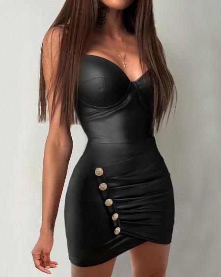 PU Leather Plunge Button Detail Sleeveless Skinny Dress Plain Plunge Bodycon Dress
