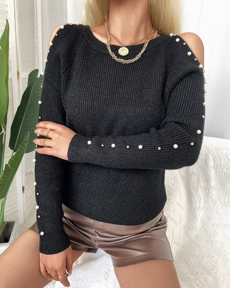Pearls Decor Cold Shoulder Sweater