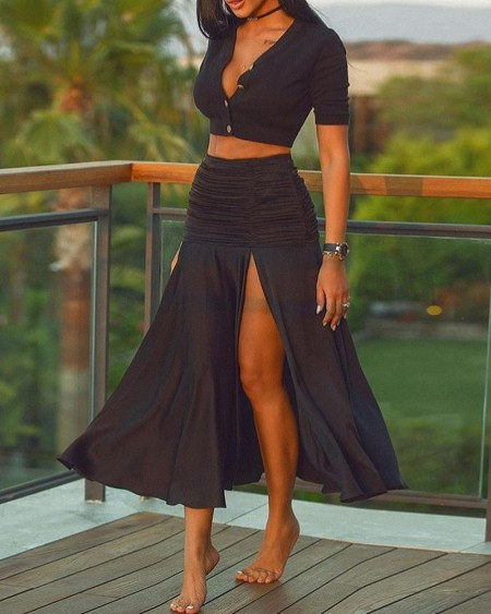 Short Sleeve Plain Button Design Top & High Slit Ruched Skirt Set