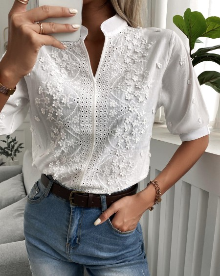Floral Pattern Eyelet Embroidery Half Sleeve Top