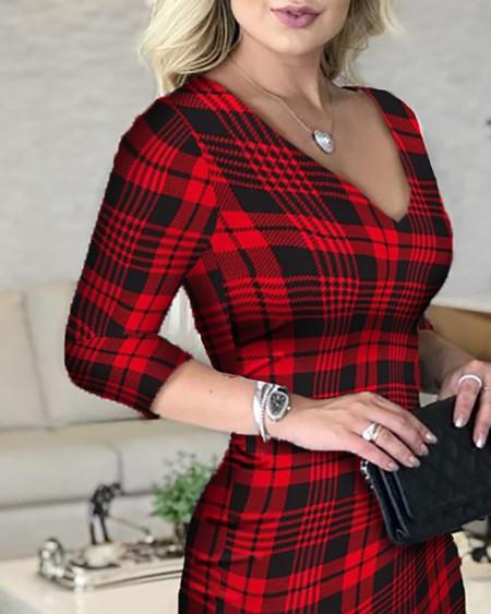 Plaid Plunge Long Sleeve Bodycon Women Dress