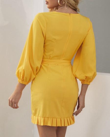 Long Sleeve Wrap Plain Pleated Dress
