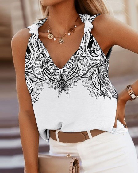 Knotted Graphic Print Casual Tank Top