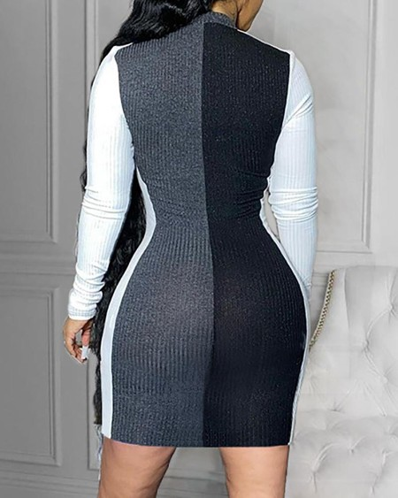 Colorblock Zipper Design Bodycon Dress