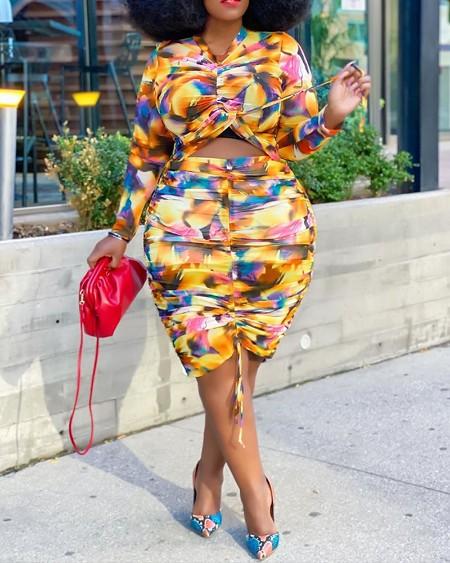 Plus Size Tie Dye Drawstring Ruched Crop Top & Skirt Set