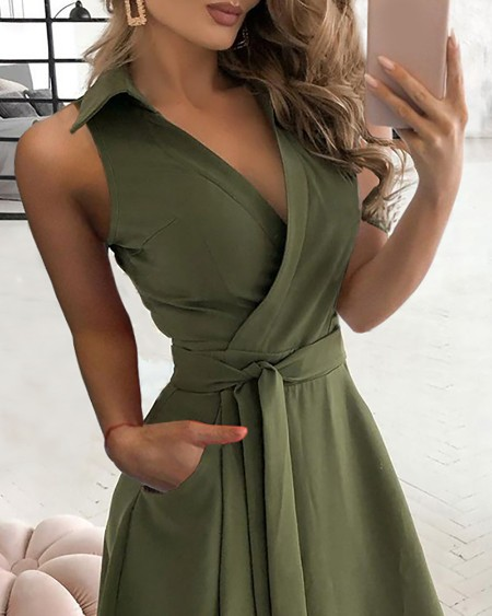 Pocket Design Sleeveless Wrap Shirt Dress With Belt
