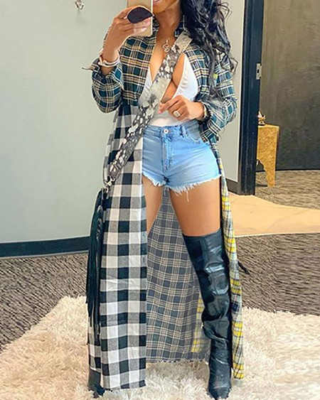 Plaid Print Long Sleeve Longline Coat