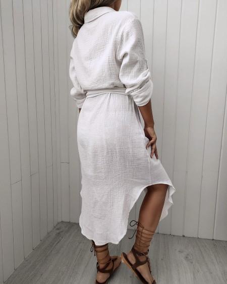 Button Design Short Sleeve Shirt Dress
