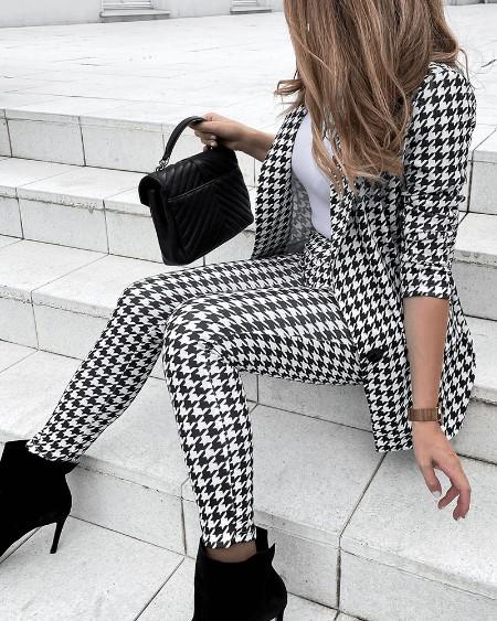 Houndstooth Print Long Sleeve Blazer Coat & Pants Set