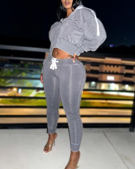 Zip Front Hooded Crop Top & Drawstring Pocket Pant Set